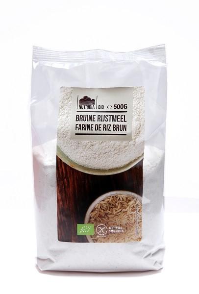 Rijstmeel bruin glutenvrij BIO 500gr. Nutridia