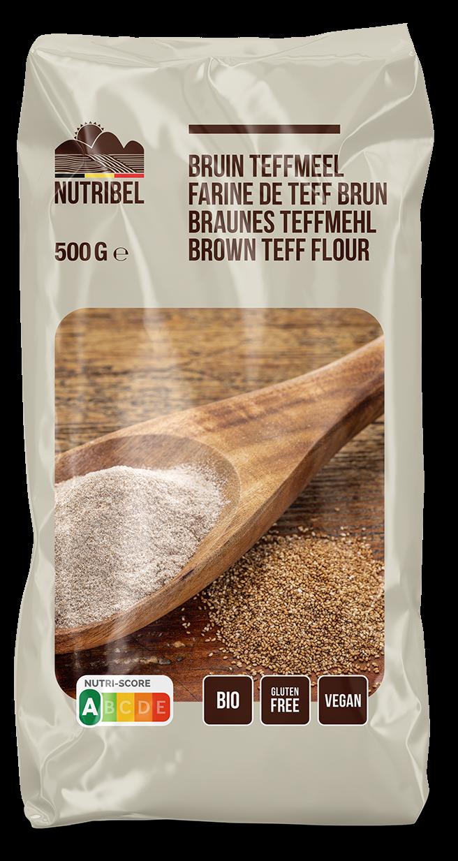 Teffmeel bruin glutenvrij BIO 500gr. Nutribel