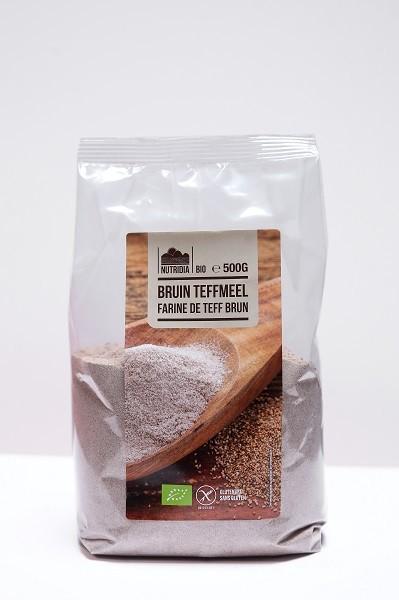 Teffmeel bruin glutenvrij BIO 500gr. Nutridia