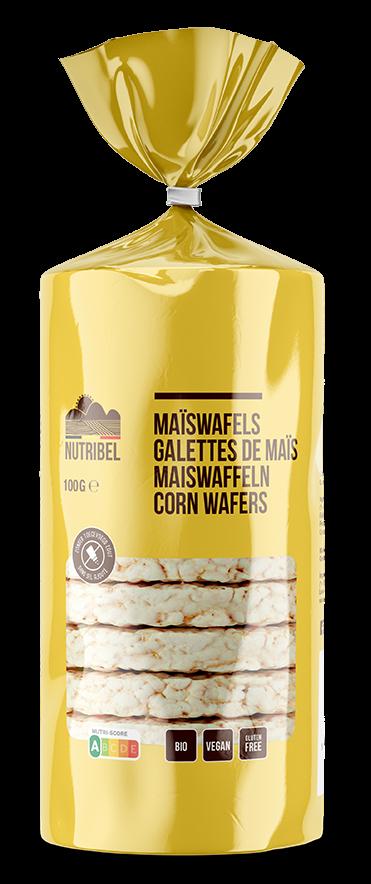 Maïswafels glutenvrij BIO 100gr. Nutribel