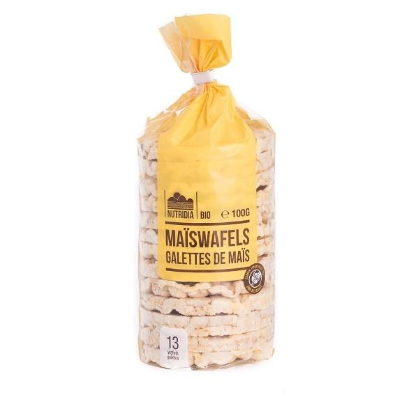 Maiswafels glutenvrij BIO 100gr. Nutridia