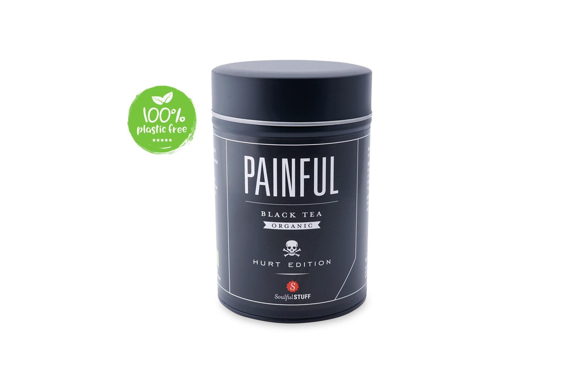 Painful Black Tea Organic Blik 160gr. Intertee