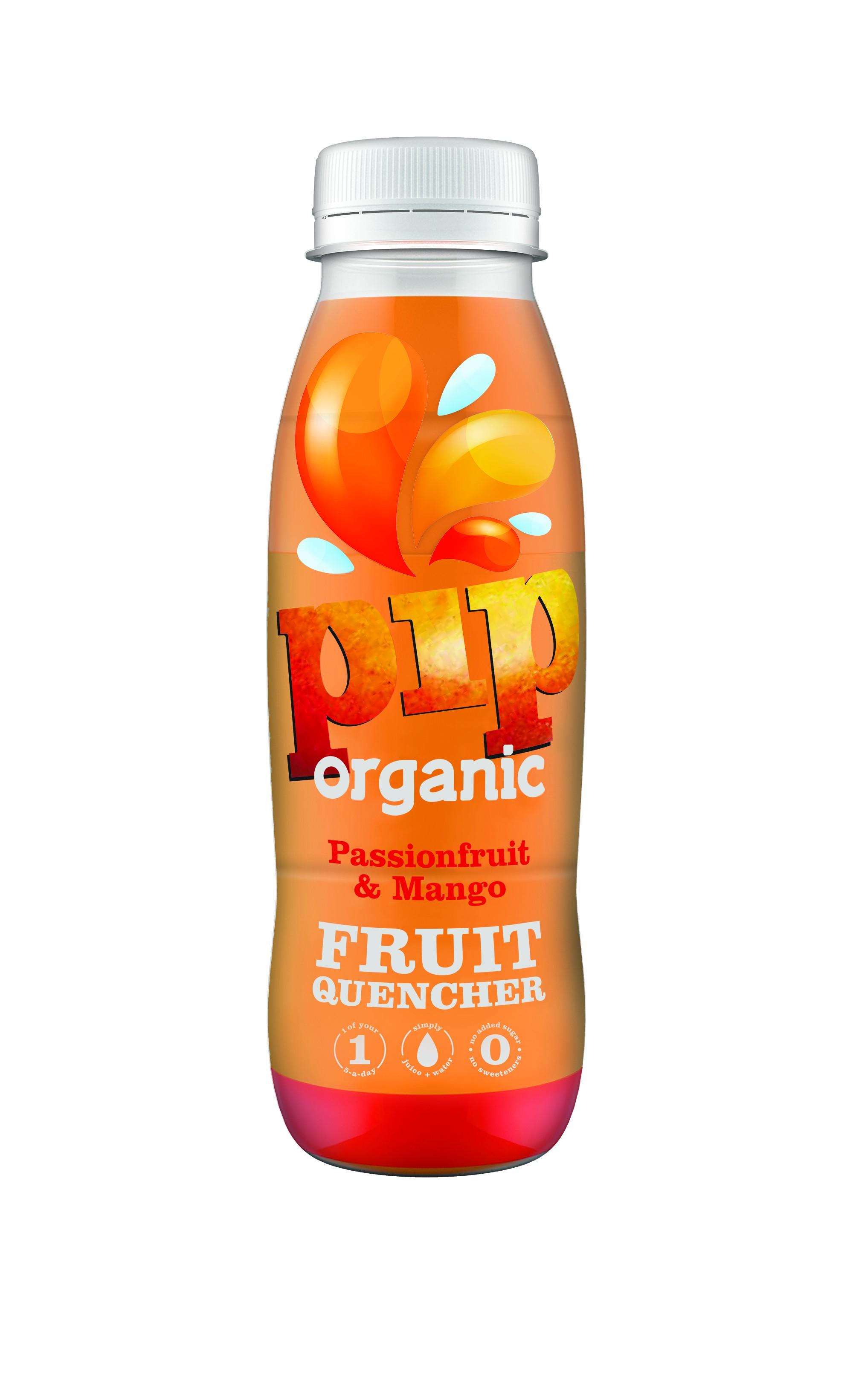 Fruitwater Quencher (Dorstlesser) Passiefruit Mango BIO 330ml. Pip organic