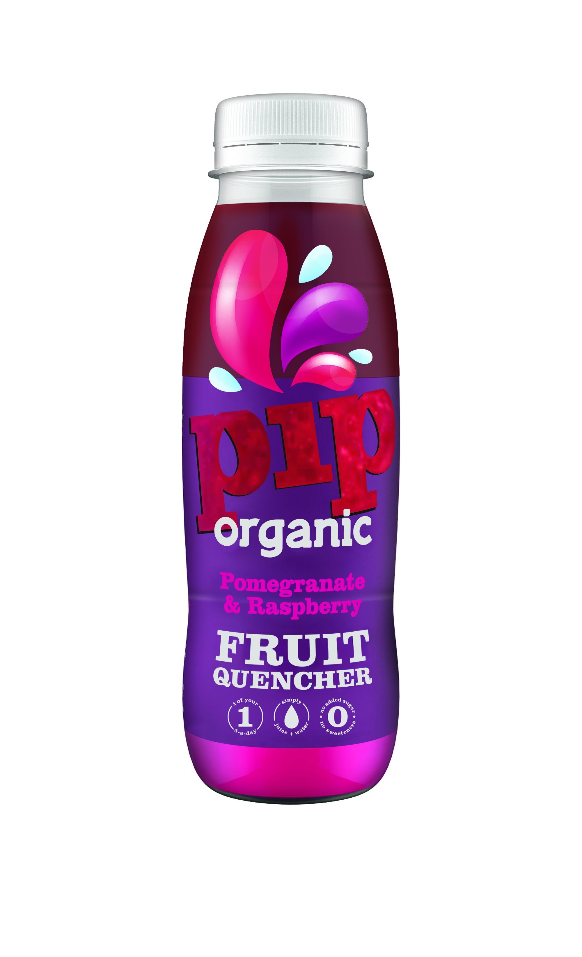 Fruitwater Quencher (Dorstlesser) Granaatappel Framboos BIO 330ml. Pip organic