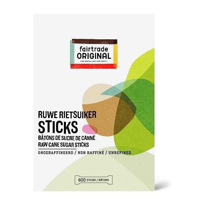 Rietsuikersticks 600*4gr. Fairtrade