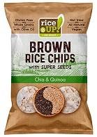Bruine rijst chips Chia & Quinoa BIO zak 60gr. Rice UP