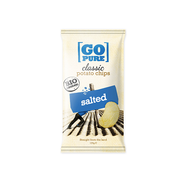 Chips classic naturel salted BIO zak 125gr. Go Pure