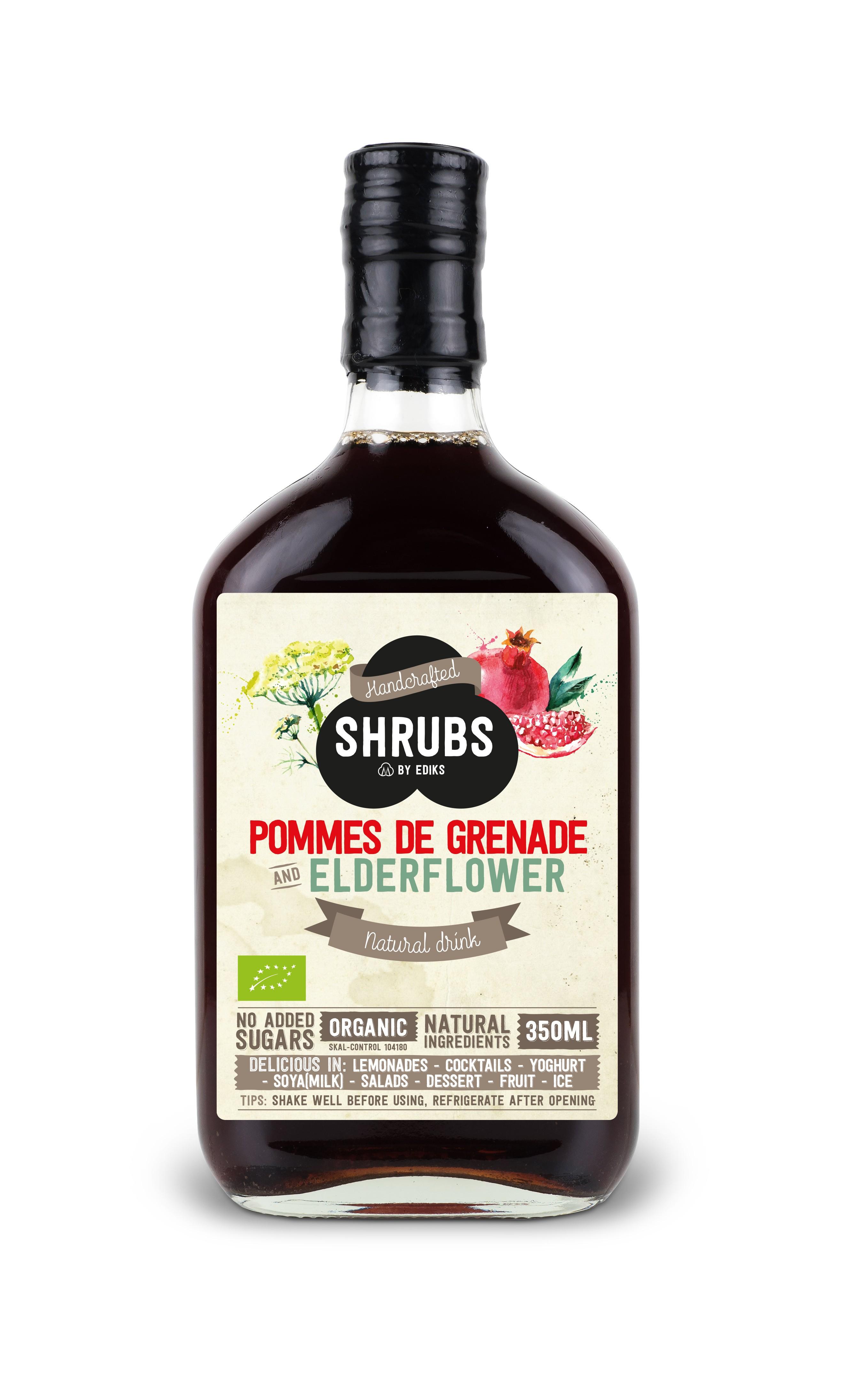 Shrubs azijnsiroop granaatappel vlierbloesem 350 ml
