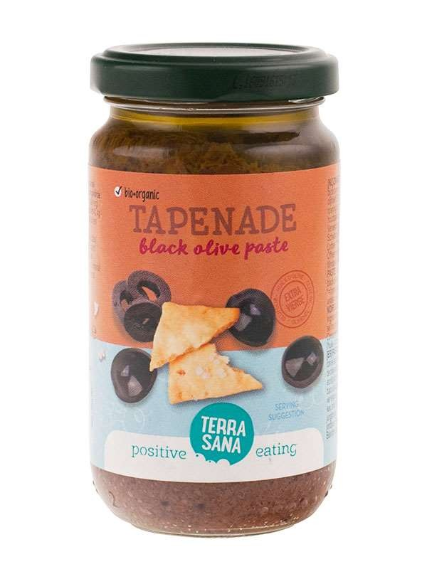 TerraSana tapenade zwarte olijf 180 gr