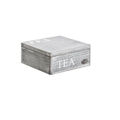 Theedoos hout leeg grijs white wash 18x18x7.5cm. Cosy&Trendy