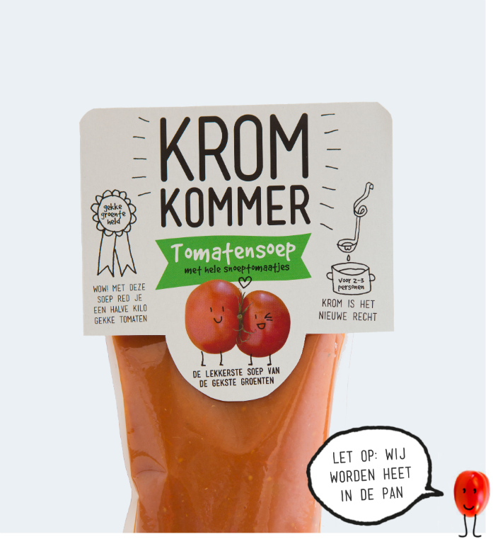 Tomatensoep met snoeptomaatjes 570ml. Kromkommer