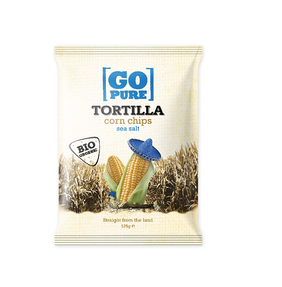 Chips tortilla corn sea salt BIO zak 125gr. Go Pure
