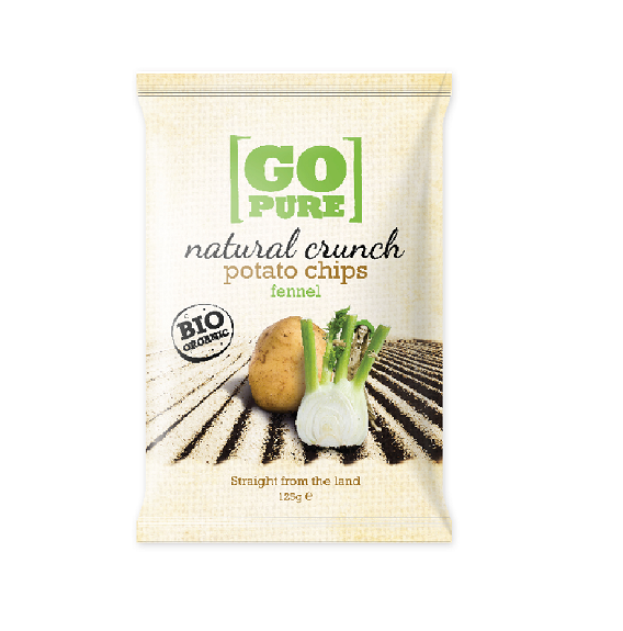 Chips natural crunch potato venkel BIO zak 125gr. Go Pure