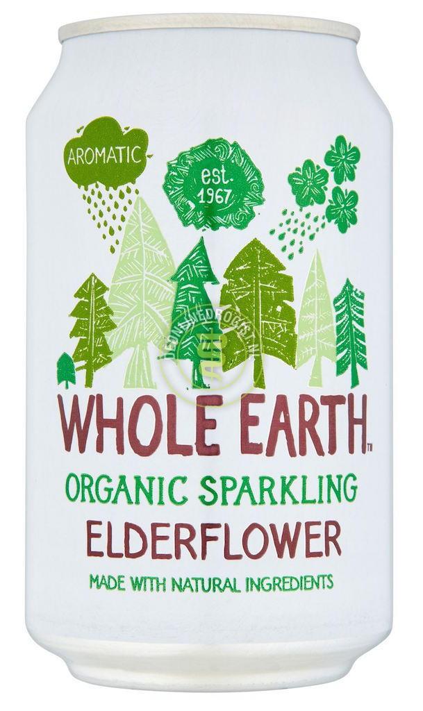 Elderflower frisdrank BIO blik 330ml. Whole Earth