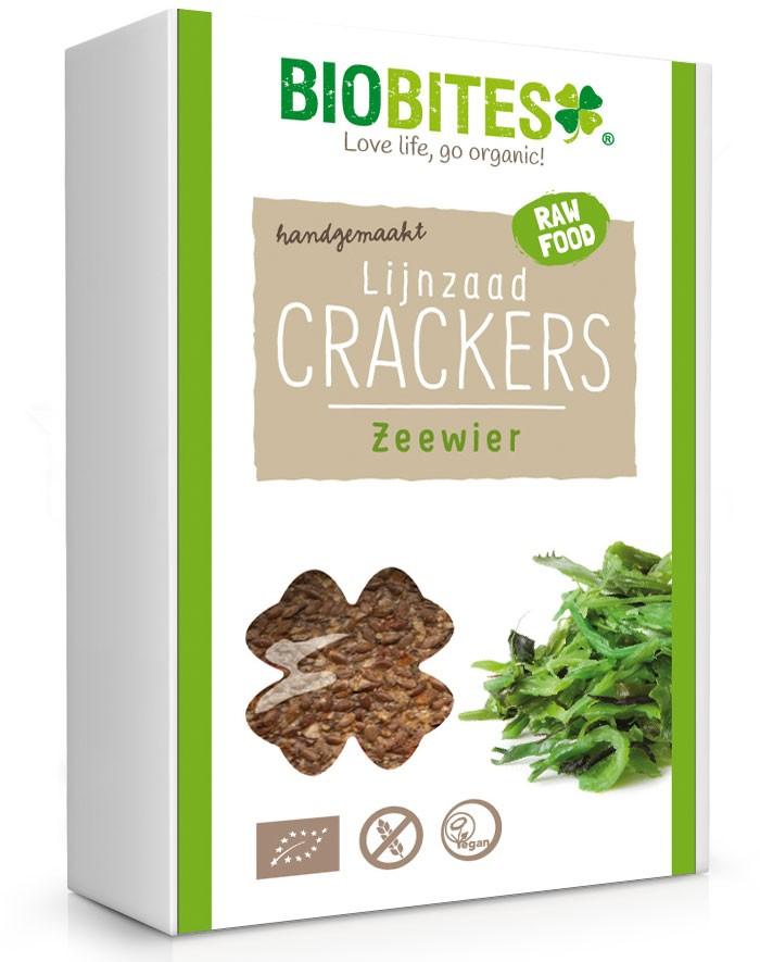 Biobites Zeewier lijnzaad crackers 4 stuks BIO 65gr.